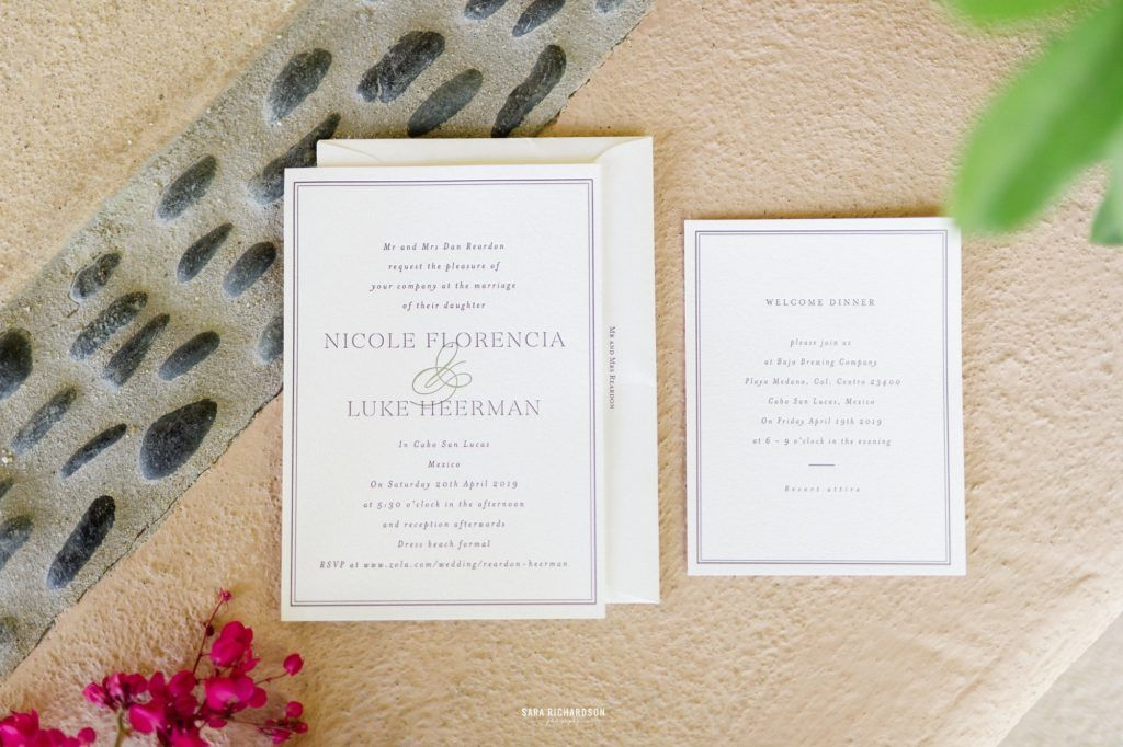 Wedding Invites for Nicole and Lukes Wedding. They decided to get married in Los Cabos, Mexico, and had their wedding at Villa la Roca in Los Cabos. Wedding Planning was done by Cabo Wedding services and Photography by Sara Richardson