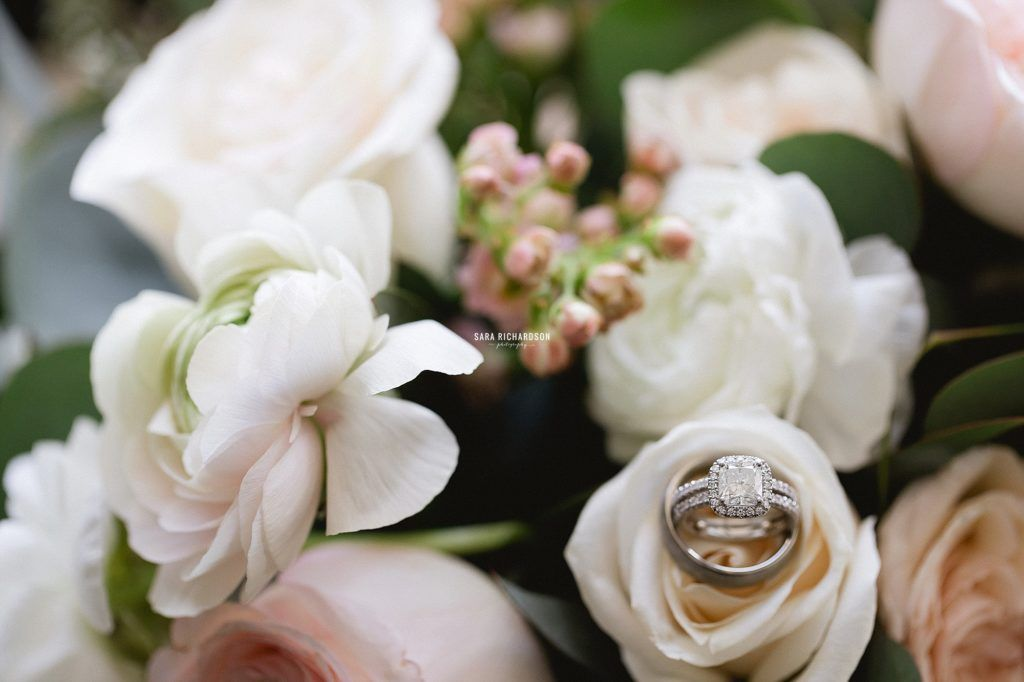 Brides Flowers she decided to use for her wedding day. She went with imported Garden Roses, Peonies and the photographer decided to put her wedding ring in the bouquet to give it more of a look.