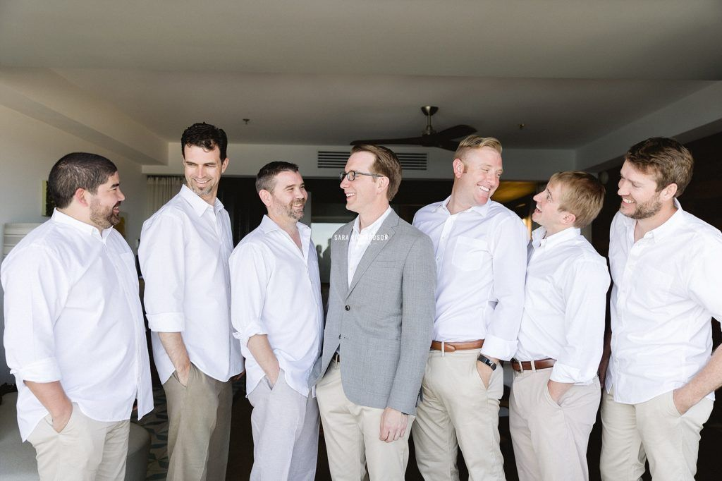 The Groom Josh with his Groomsmen right before the Ceremony start at The Cape in Los Cabos, Mexico.