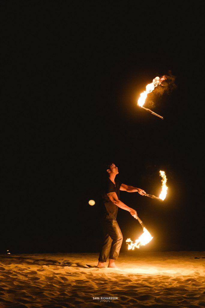 Fire dancers in Destination Wedding in Los Cabos Mexico
