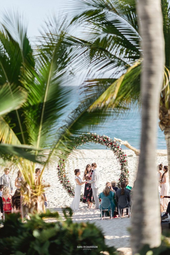 Photography from afar, of wedding Ceremony in Los Cabos, Mexico. Perfect Destination Wedding Location in Mexico.