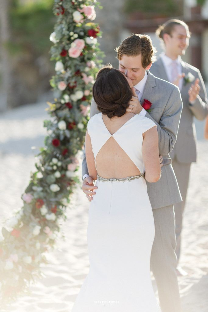 Bride and Groom kissing after announced Husband and Wife in Los Cabos, Mexico.