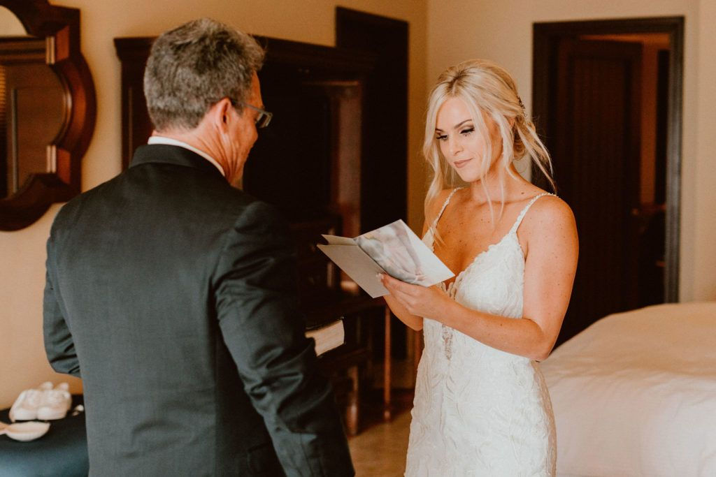In this photo, we are able to capture the moment where Ariel, our Bride, did a First Look with her Father at the Hotel, prior to arriving to the Wedding Venue in Los Cabos Mexico. She thought it would be a special moment between her and her dad and wanted to make sure she did this. She allocated the perfect amount of time.