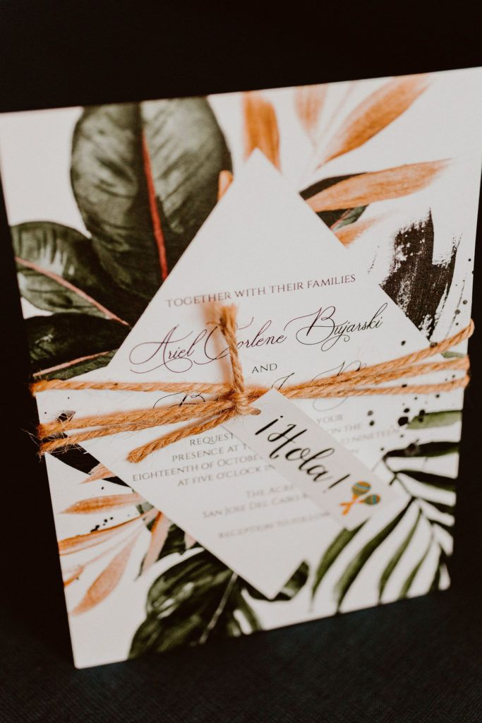 Wedding invites and RSVP's for Ariel and Brians Wedding  day. They went Tropical but still very classy. Their wedding took place in Cabo San Lucas, at Acre Baja. Wedding Planning was done by Cabo Wedding Services