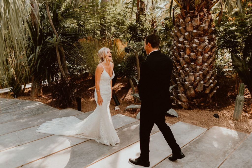 Bride and Groom doing their First Look at Acre Baja. One of the most famous wedding venues in Los Cabos at the moment, where everyone is wanting to get married. When it came down to the planning of this wedding, it was Jessica Wolff from Cabo Wedding Services at Acre Baja.