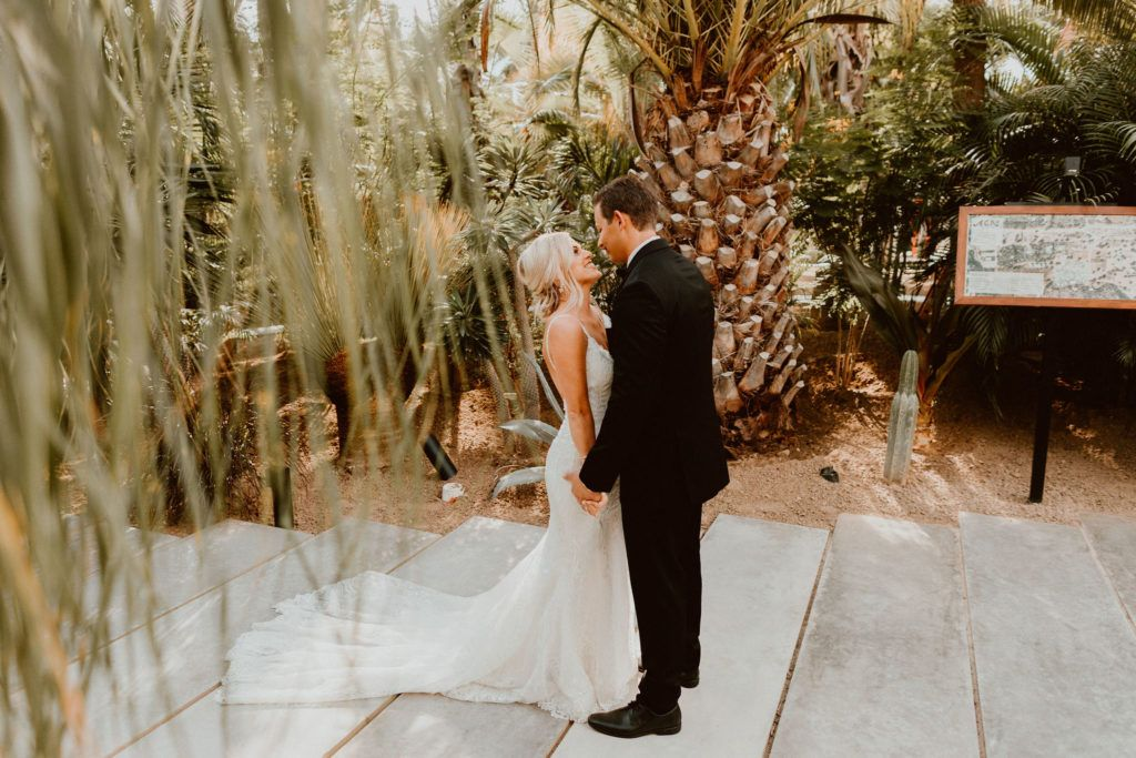 Bride and Groom do First Look prior to the Wedding Ceremony. They were married at one of the Best Wedding  Venues in Cabo San Lucas, Acre Baja. They were married in October where there was perfect weather, and with 80 of their family and friends, they were able to say their I Do's in the middle of an oasis, in the desert.