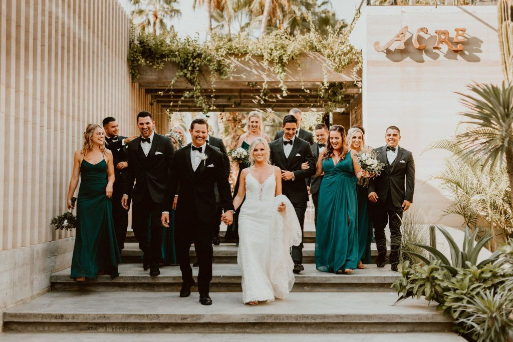 Wedding Party about to walk to their ceremony location at Acre Baja. The perfect Wedding Venue in Los Cabos Mexico
