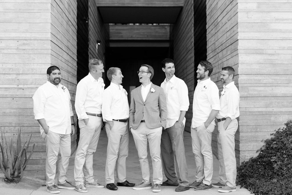 Groom Josh with Groomsmen posing after the Ceremony for their Wedding day