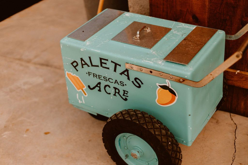 Always fun to have a Paletas Cart at your wedding. Paleta means popsicle, and who doesn't want something refreshing when it is a little warm outside, in the middle of the dessert and tropical oasis? I would!