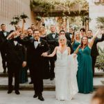 Bride and Groom at Acre Baja getting Bridal Photos with their Wedding Party. Wedding Planning was done by Jessica Wolff at Cabo Wedding Services