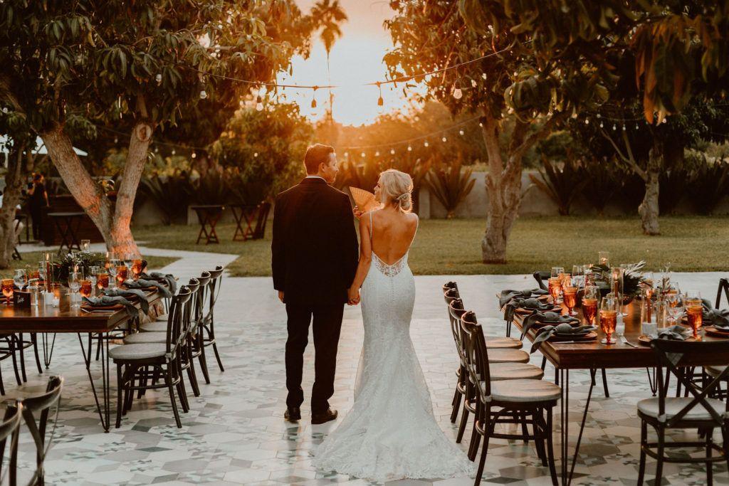 Bride and Groom at their wedding venue Acre baja, in Los Cabos Mexico