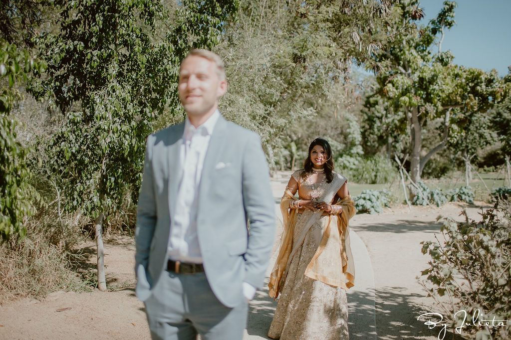 Bride and Groom at their Destination Wedding venue in Los Cabos Mexico. Their wedding venue was Flora Farms and they decided to mix it up from the Beach and have their wedding at an organic farm. They did their first look here as well.