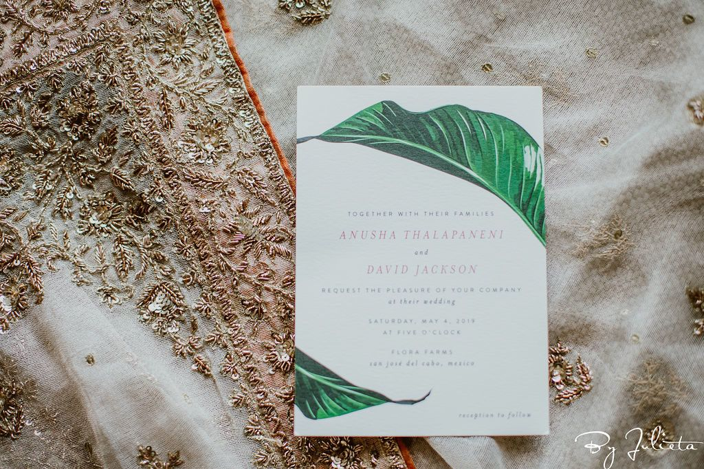 Wedding invites that the bride sent out for her Destination Wedding that took place at Flora Farms.