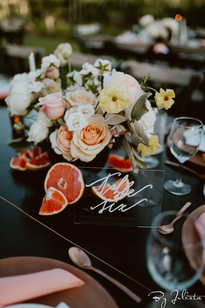 Table decor at Flora Farms, Destination Wedding venue in Cabo San Lucas. Wedding Planning was done by Jessica Wolff from Cabo Wedding Services