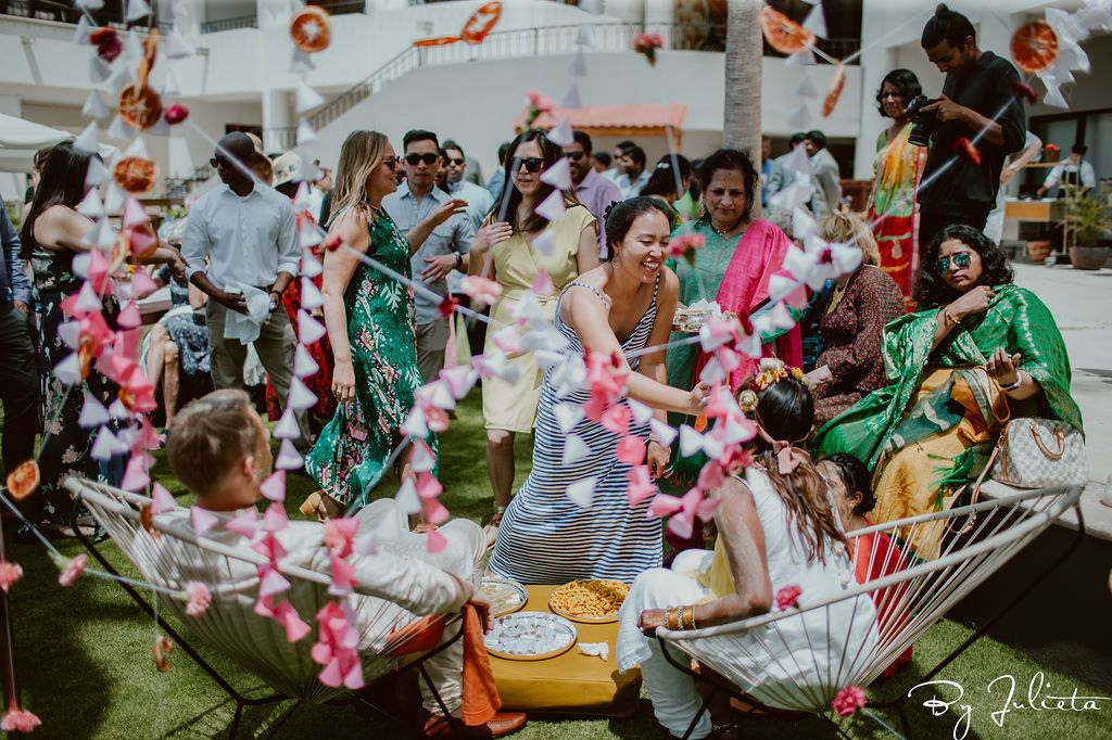 Guests having so much fun during the Haldi at Hilton Los Cabos. Wedding Planning was done by Jessica Wolff from Cabo Wedding Services.