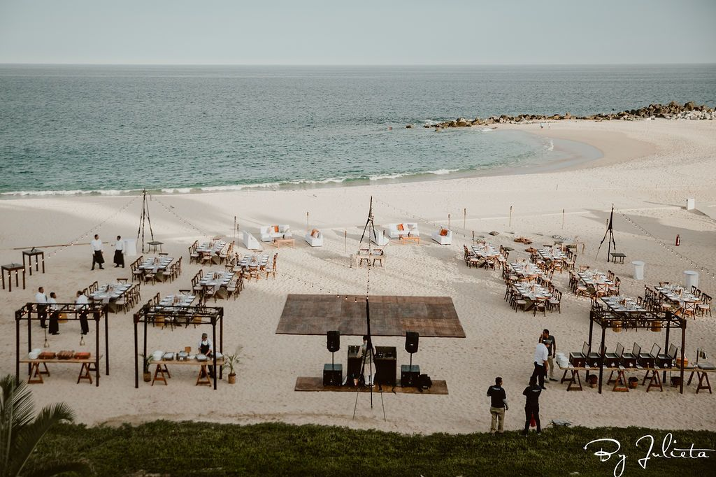 Beach set-up for the Sangeet that took place later that day. They had over 130 people at a this event and it was  held at the Beach at Hilton Los Cabos.