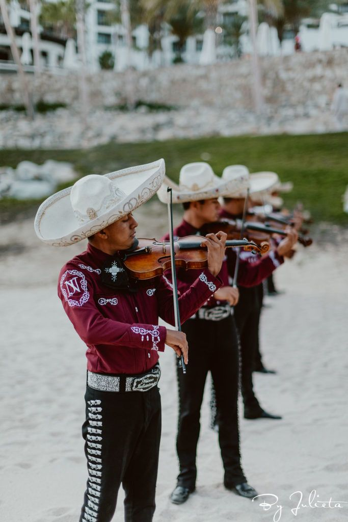 We had a Mariachi band attend the Sangeet to incorporate where they are at, which is in Mexico. This event took place in Los Cabos, Mexico, at the Hilton Los Cabos. Great wedding venue to host events at.