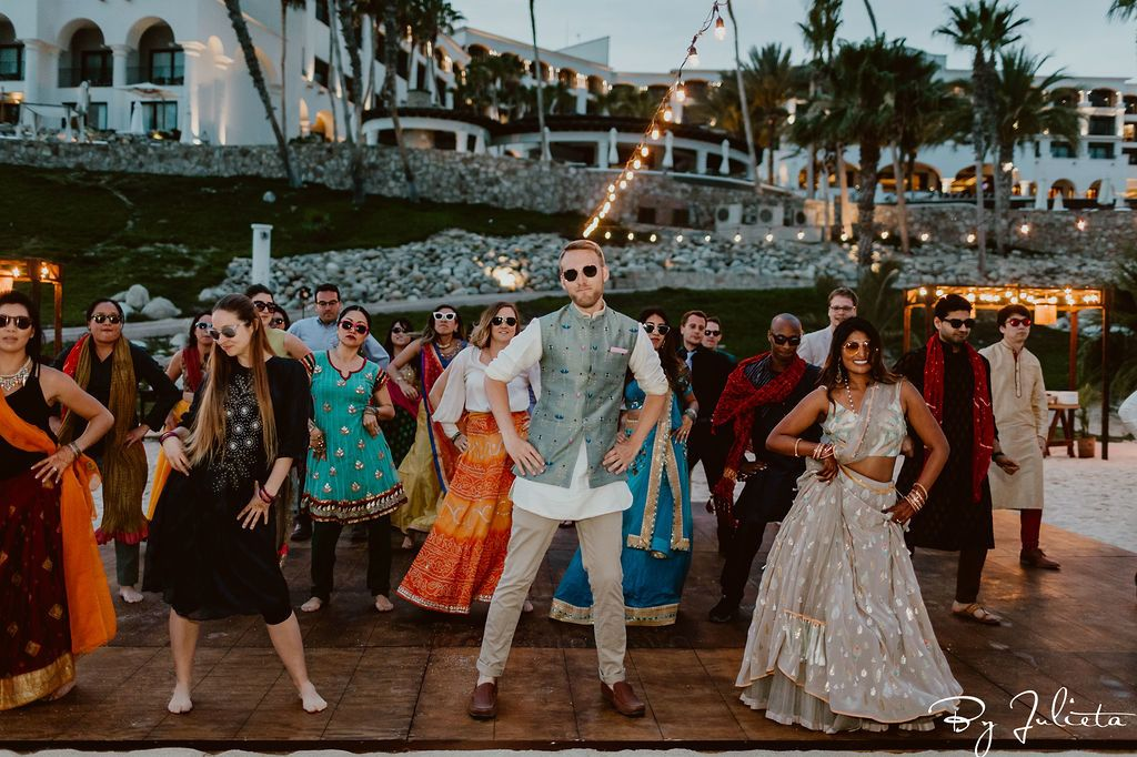 The Groom's side choreographed a dance  on the Sangeet night.