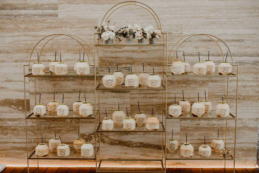 Coconuts on display for Alexa and Justin's wedding in Los Cabos Mexico.