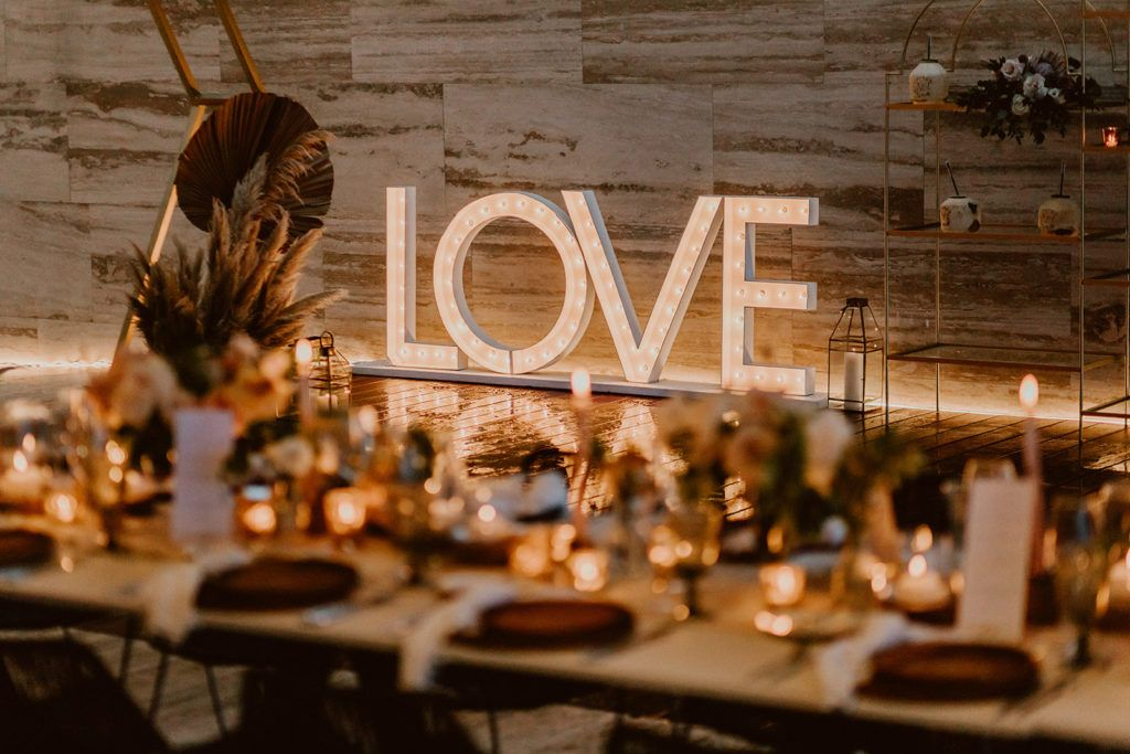 Love sign that was brought by Let it Be and placed at the Reception at Solaz Los Cabos.