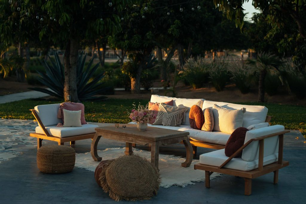 Lounge set-up at Christie and Christina Wedding destination in Mexico. The wedding took place at Acre Baja in Los Cabos.