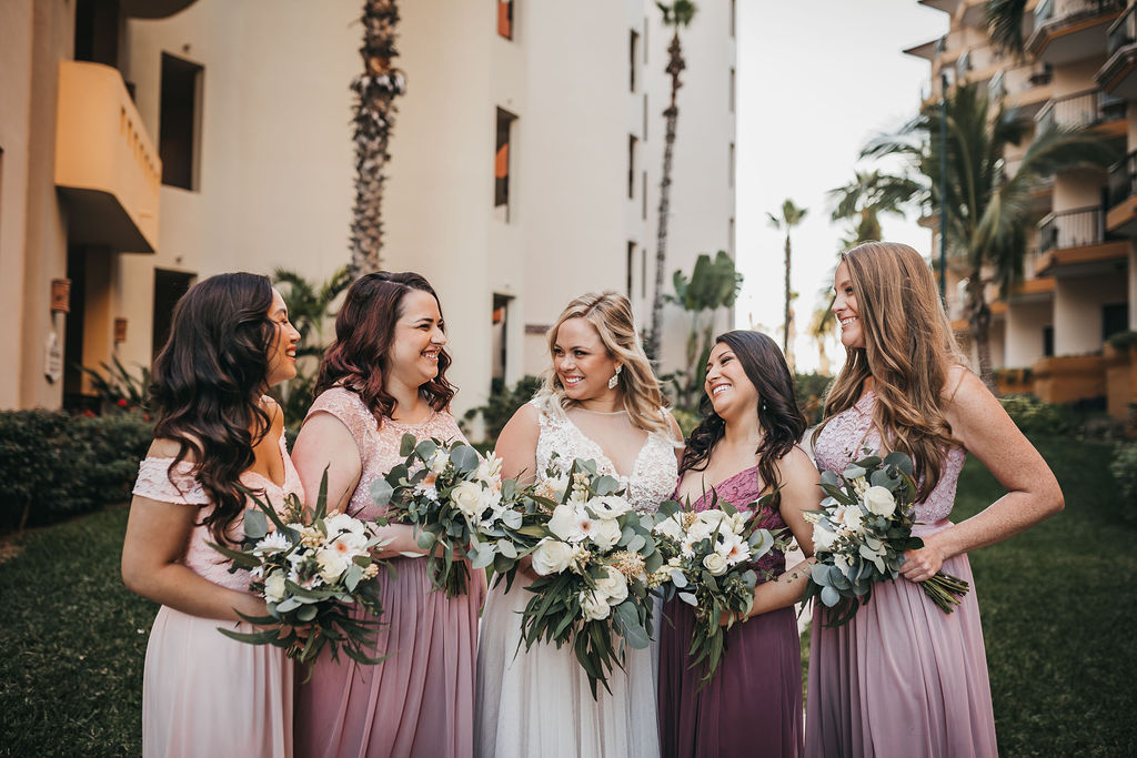 Bride with her Bridesmaids at her Destination Wedding in Los Cabos Mexico. Wedding  Planner was Jessica Wolff from Cabo Wedding Services. Wedding Planner in Los Cabos Mexico.