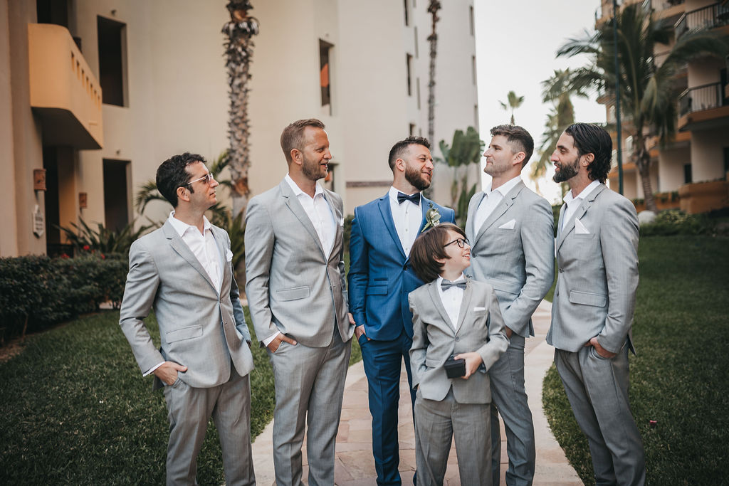 Groom with his Groomsmen all wearing Armani Exchange, in Los Cabos Mexico. This was a Destination Wedding in Los Cabos, that took place this year, during a great month in February. The weather was perfect and the Bride and Groom were so involve!