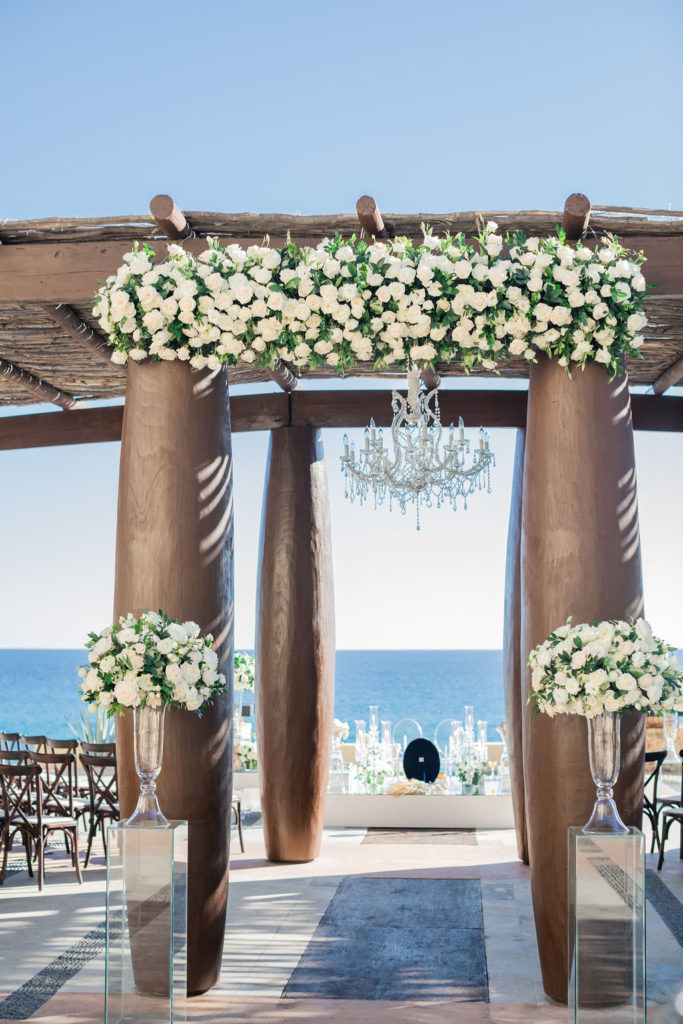 Ceremony set-up at the Waldorf Astoria in Los Cabos Mexico.