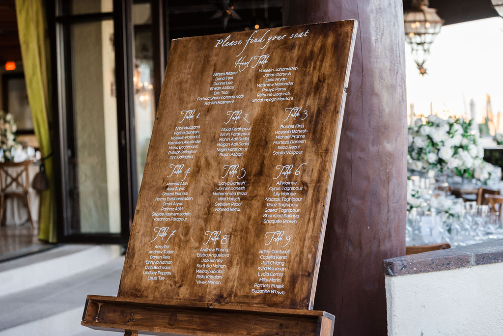 Welcome Seating Chart at the Waldorf Astoria in Los Cabos Mexico. Wedding Planning was done by Cabo Wedding Services in Los Cabos Mexico.