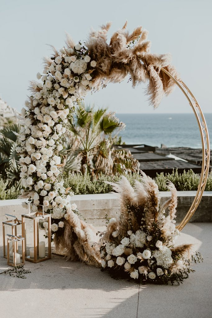 Ceremony alter by The Main Event in Los Cabos Mexico. The Wedding took place at The Cape in Los Cabos. This photo was taken by Ana and Jerome photography