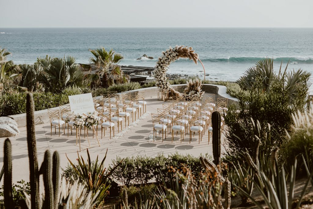 Ceremony location at The Cape hotel in Los Cabos Mexico. The designer was Jessica Wolff and the planning company was Cabo Wedding Services.