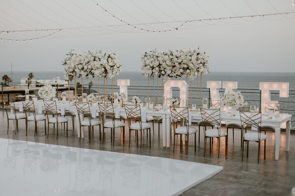 Set-up at Nicole and Brandons wedding that took place at the Cape in Los Cabos Mexico.